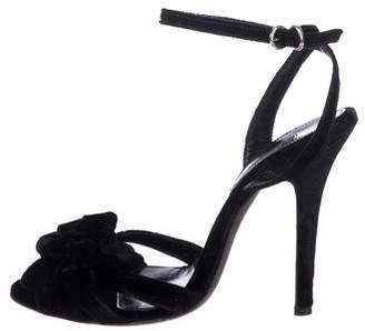 Giambattista Valli Velvet Flower-Accented Sandals