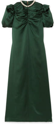 Mother of Pearl Tilda Faux Pearl-embellished Ruched Satin-crepe Midi Dress - Emerald