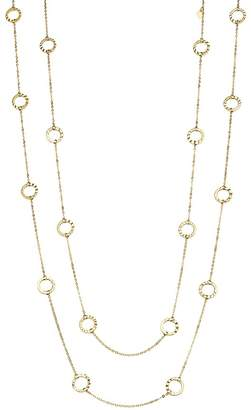 """Bloomingdale's 14K Yellow Gold Textured Circle Station Necklace, 52"""" - 100% Exclusive"""