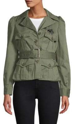 Marc Jacobs Notch Collar Cotton Belted Jacket