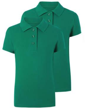 George Girls Jade Green Scallop School Polo Shirt 2 Pack