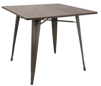 "Lumisource Oregon 36"" Industrial-Farmhouse Dining Table in Antique and Espresso"