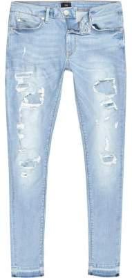 River Island Light blue ripped Ollie skinny spray on jeans