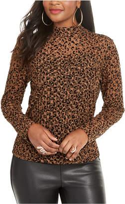 Thalia Sodi Leopard Print Lace Top
