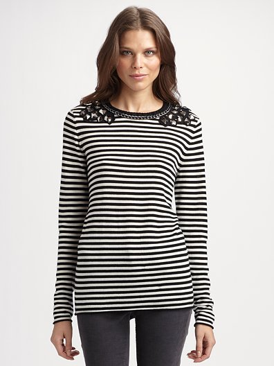 Tory Burch Embellished Striped Tee