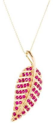 Jennifer Meyer Ruby Leaf Pendant Necklace