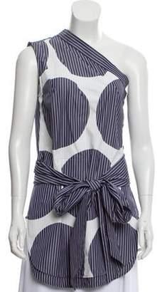 Stella McCartney One-Shoulder Striped Top Blue One-Shoulder Striped Top