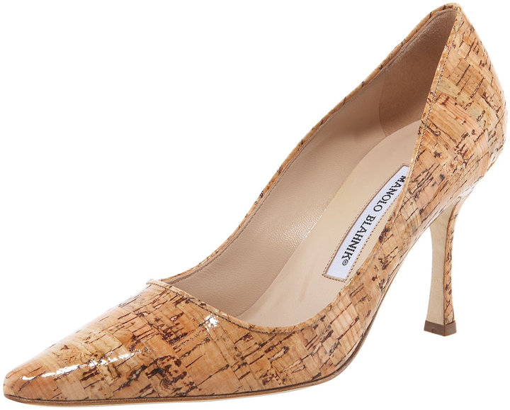 Manolo Blahnik Newcio Shiny Cork Pump