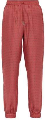 All At Sea - Anchor Print Silk Pyjama Trousers - Mens - Red