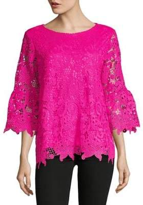 Isaac Mizrahi IMNYC Floral Lace Bell Sleeve Top
