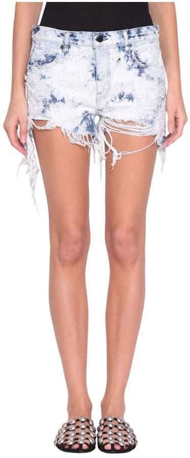 Destroyed Cotton Denim Shorts