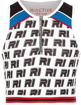 River Island Girls white RI print sleeveless zip crop top