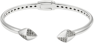 White Topaz Sterling Silver Hinged Cuff Bracelet
