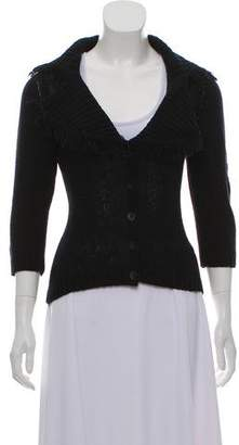Blumarine Fringe-Accented Knit Cardigan
