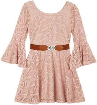 Amy Byer Iz Girls 7-16 IZ Belted Lace Bell Sleeve Dress