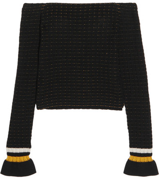 3.1 Phillip Lim - Off-the-shoulder Smocked Cotton-blend Sweater - Black $325 thestylecure.com
