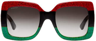 Gucci Red and Green Urban Web Block Diva Sunglasses