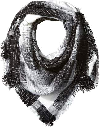D&Y Women's Medium Weight Plaid Square Scarf with Fringe