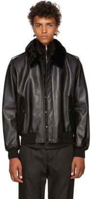 Prada Black Leather Fur Jacket