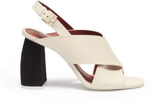 Mercedes Benz Castillo 'Hae High' suede heel cross strap leather slingback sandals