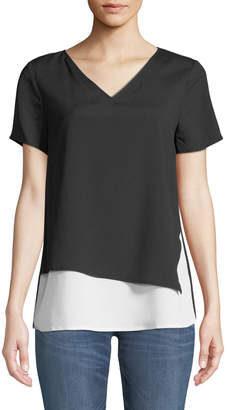 Iconic American Designer Short-Sleeve V-Neck Double-Layer Top
