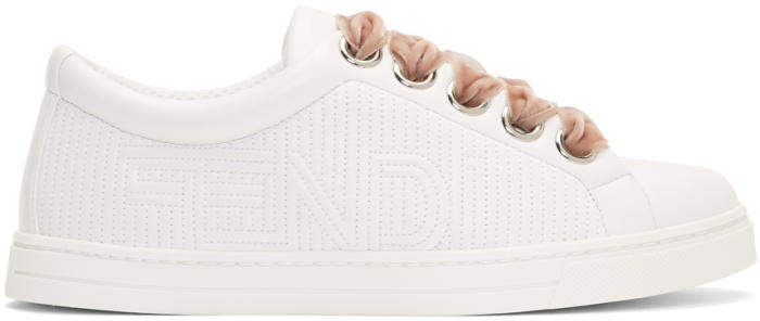 Fendi White Thick Contrast Lace-Up Sneakers