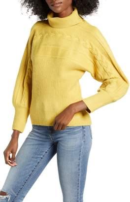 J.o.a. Bishop Sleeve Turtleneck Sweater