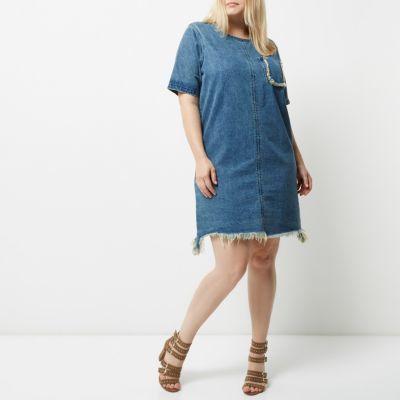 River IslandRiver Island Womens Plus blue wash frayed denim T-shirt dress
