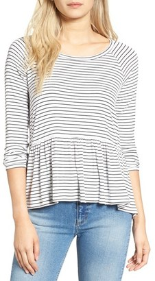 Women's Bp. Stripe Peplum Tee $35 thestylecure.com