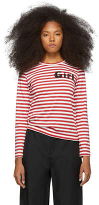 Comme des Garcons Red and White Striped Logo T-Shirt