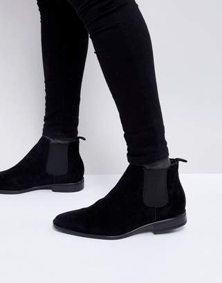 New Look Faux Suede Chelsea Boot In Black