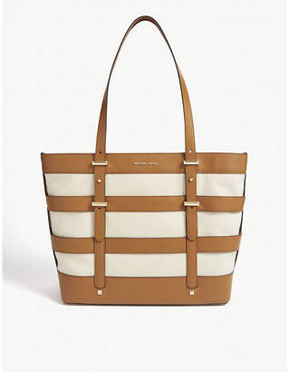 MICHAEL Michael Kors Marie caged leather and canvas tote