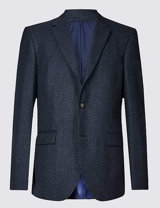 Marks and Spencer Navy Checked Regular Fit Jacket