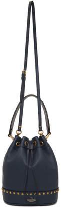 Valentino Navy Garavani Small Twinkle Studs Bucket Bag