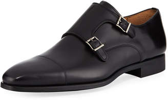 Magnanni for Neiman Marcus Vekio Leather Monk-Strap Oxford