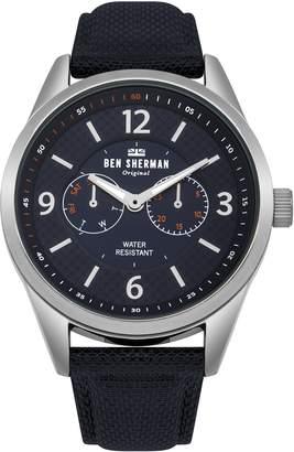 Ben Sherman Men's 'Big Carnaby Utility' Quartz Silver-Tone and Nylon Casual Watch, Color: (Model: WB069UU)