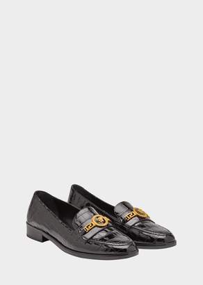 Versace Patent Mock Croc Leather Loafers