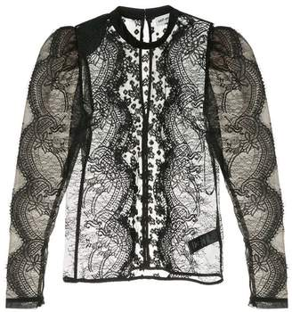 Self-Portrait puff-sleeved lace blouse