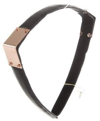 Colette Malouf Leather Maneframe Headband