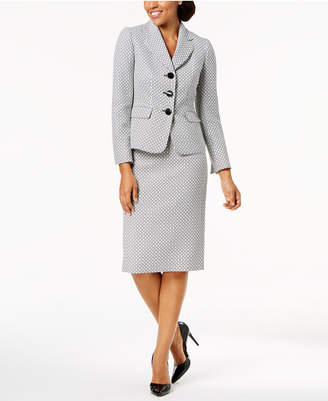 Le Suit Three-Button Tweed Skirt Suit