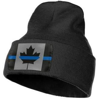 f8a7a8e319bcc SuFuncc Classic Thin Blue Line Canada Flag Police Warm Winter Beanie Hat  Acrylic Knit Cuff Beanie