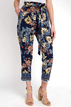 Abbeline Navy Floral Tapered Pant With Tie