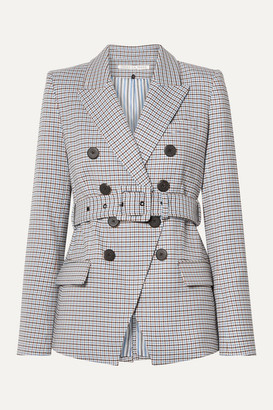 Veronica Beard Harvey Belted Houndstooth Woven Blazer - Beige