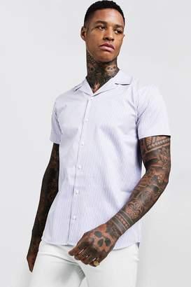 boohoo Short Sleeve Stripe Revere Shirt
