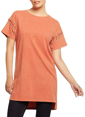 Dex Short-Sleeve Lace-Up Tunic Top