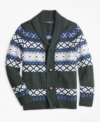 Brooks Brothers Boys Merino Wool-Blend Shawl Collar Sweater