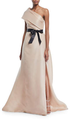 Monique Lhuillier Draped One-Shoulder Gown with Thigh Slit