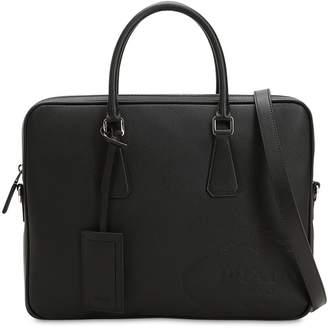 Prada Leather Briefcase W/ Embossed Logo