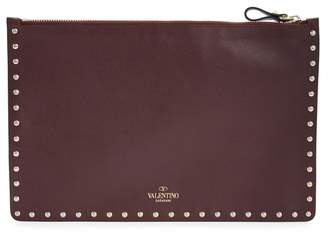 Valentino Rockstud Burgundy Leather Zip Pouch