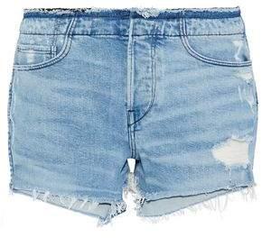 3x1 Stripped Shelter Distressed Denim Shorts